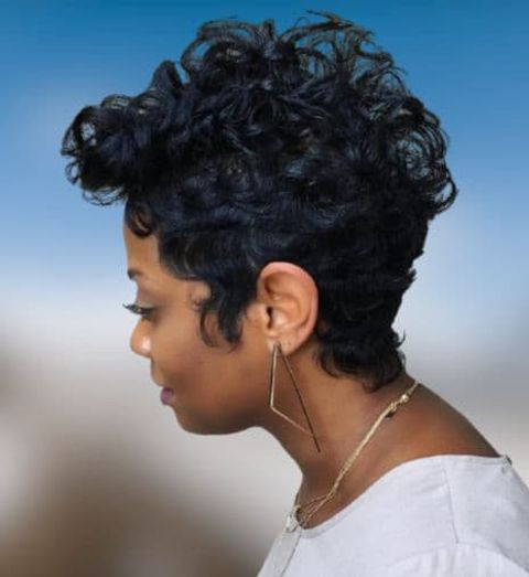 Natural curly Pixie cut for black women
