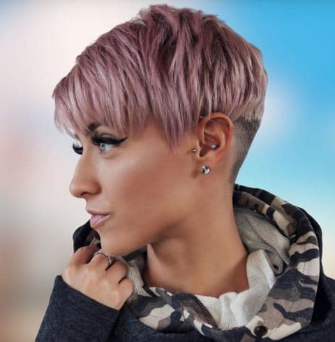 pink hair color layered short undercut pixie hairstyle