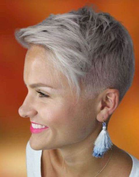 side swept pixie undercut hair style for women over 40