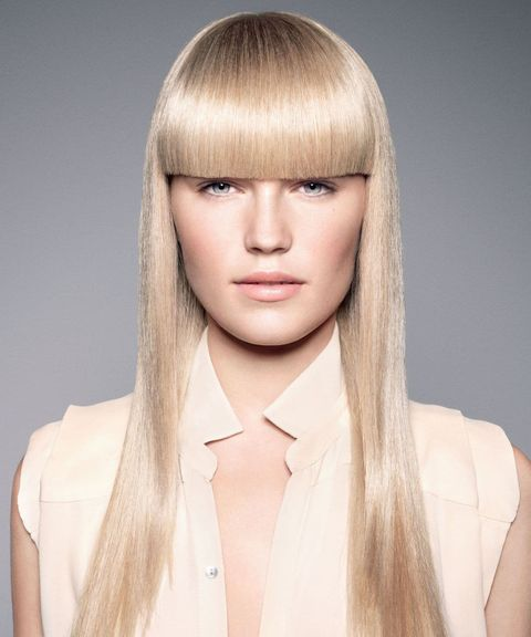 Blonde color long hair with bangs 2021-2022