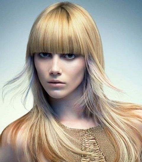 Highlight long hair with bangs for triange face 2021-2022