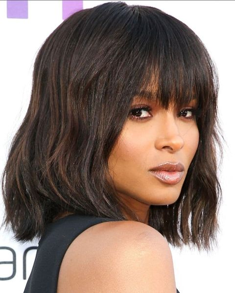 Blunt bob haircut with bangs 2021-2022