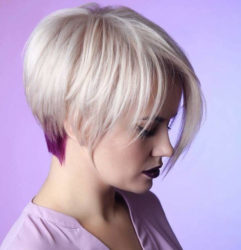 Asymmetrical short bob with long bags
