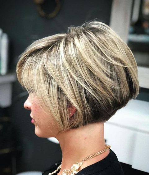 Balayage color layered bob