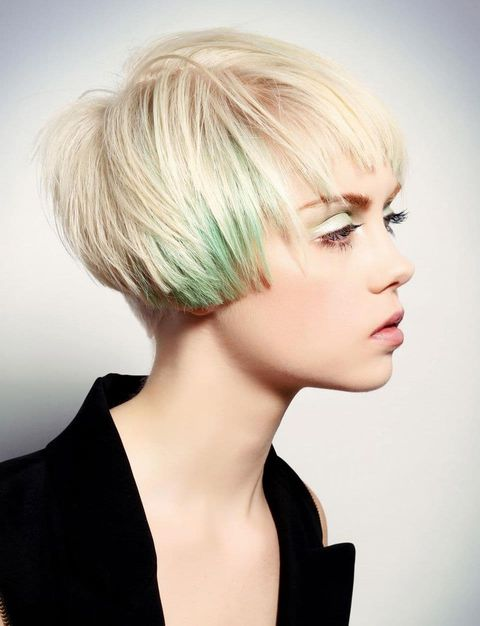 Blunt short bob with green ombre