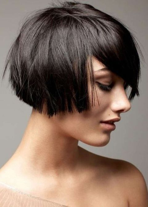 Layered blunt bob cut