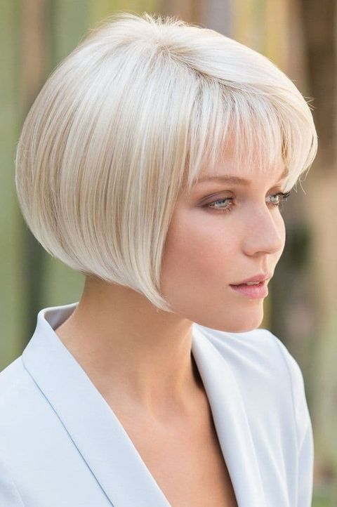 Light blonde bob with short bangs
