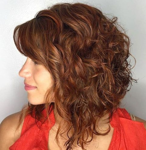 Angled shoulder length curl hair 2021-2022