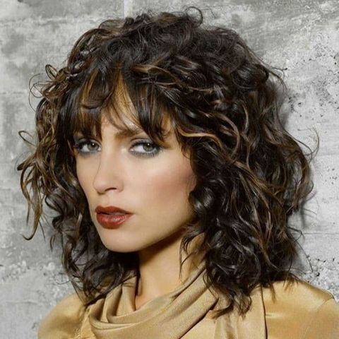 Balayage shoulder length curly hair 2021-2022