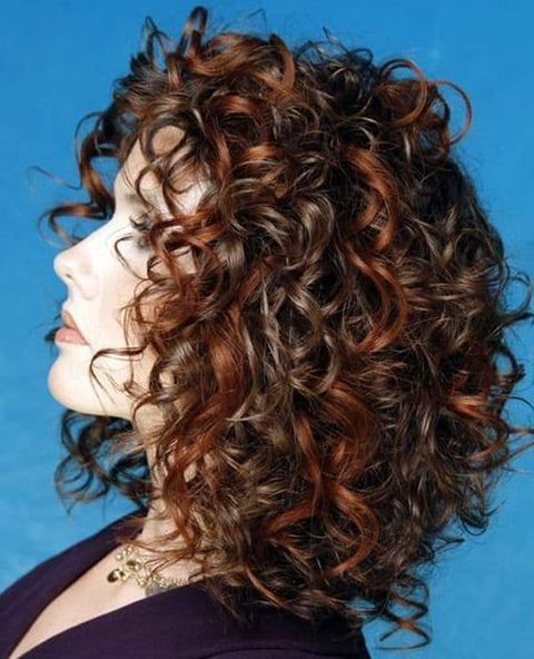 Brown balayage curly mid-length hair 2021-2022