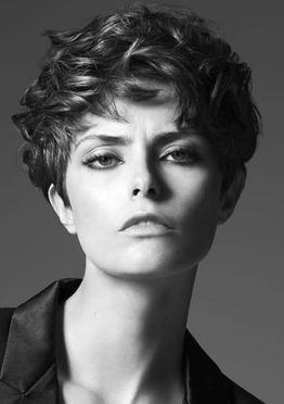 Short layered pixie hair style for women