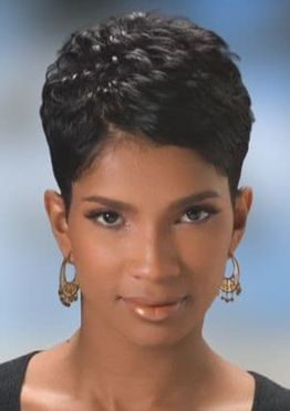 Layered natural short pixie haircut for black women