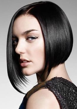 Asymmetrical short bob haircut straight hair