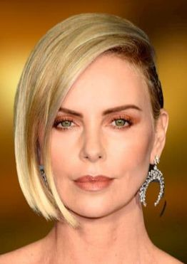 Charlize Theron side swept blunt short bob haircuts