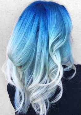 Blue ombre hair colors for long wavy hair