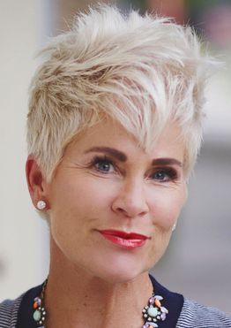 Spiky short pixie haircut for older women over 60