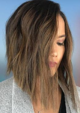 Angled long bob haircuts for women with long face