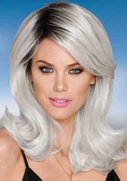 Gray hair color shades for women with mid-length hairstyle