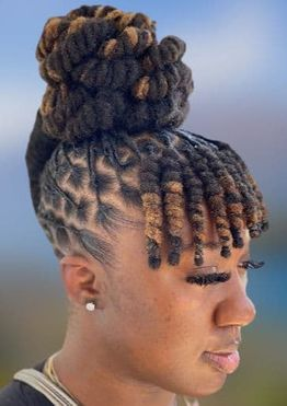 Dreadlock high bun hairstyles for black women