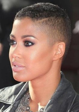 Very short pixie hair cut for black women with round face