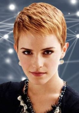 Red hair color short layered pixie haircut for women with long face